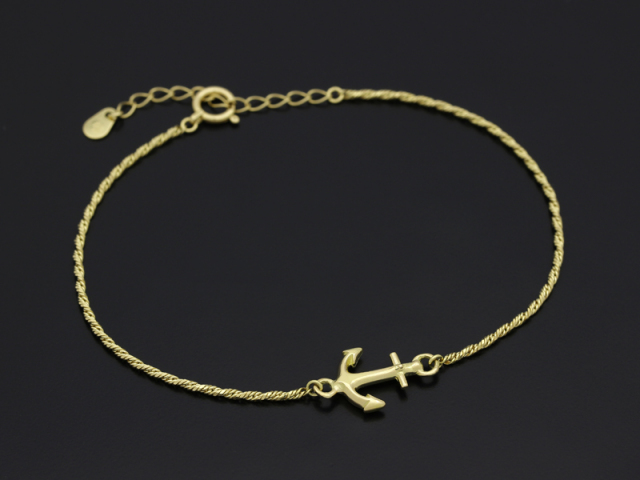 Small Anchor Chain Bracelet - K18 Yellow Gold