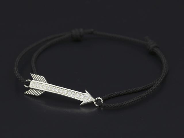 Arrow Cord Bracelet - Silver w/CZ