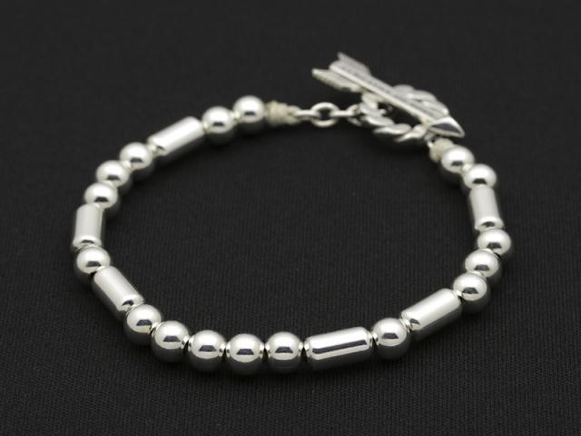 Arrow T-Bar Silver Beads Bracelet