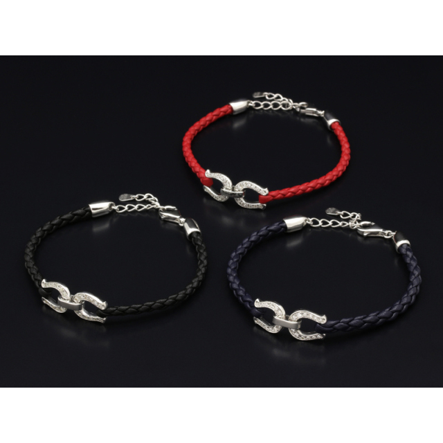 Horseshoe Leather Bracelet - Silver w/CZ