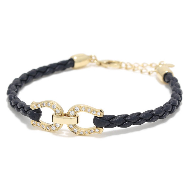 Horseshoe Leather Bracelet K18Yellow Gold w/Diamond