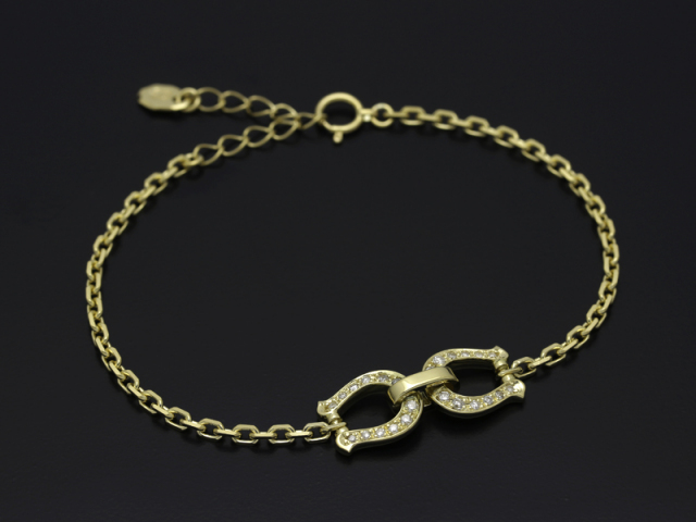 Horseshoe Chain Bracelet - K18Yellow Gold w/Diamond