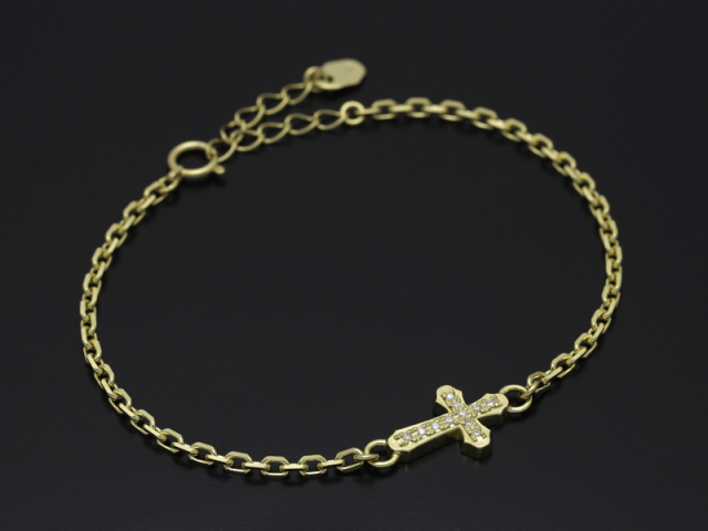 Smooth Cross Chain Bracelet - K18Yellow Gold w/Diamond