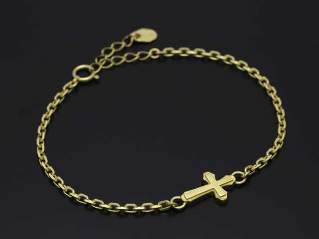 Smooth Cross Chain Bracelet - K18Yellow Gold