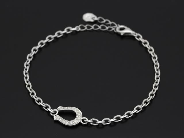 Horseshoe Amulet Chain Bracelet - Silver w/CZ