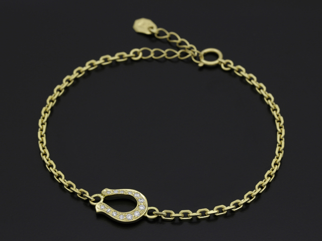 Horseshoe Amulet Chain Bracelet - K18Yellow Gold w/Diamond