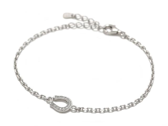 Small Horseshoe Chain Bracelet - Silver w/CZ