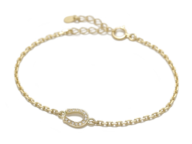 Small Horseshoe Chain Bracelet - K18Yellow Gold w/Diamond