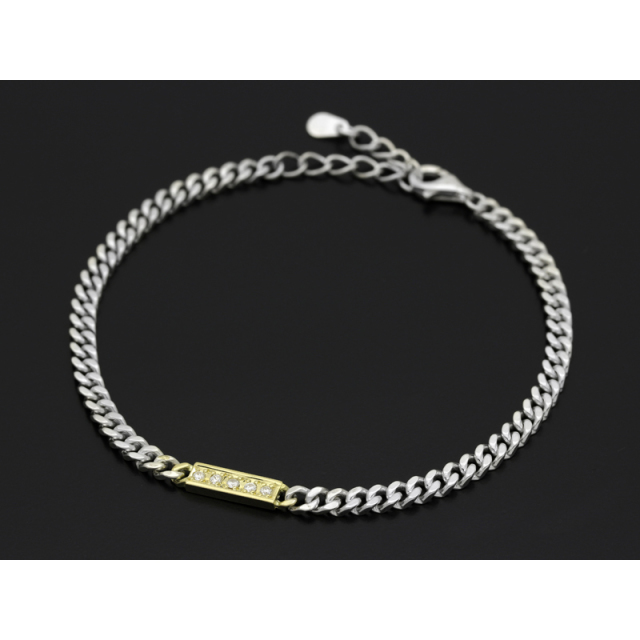 Small ID Chain Bracelet - Silver×K18Yellow Gold w/Diamond