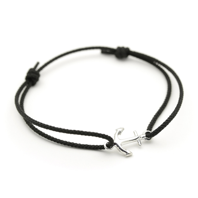 Small Anchor Cord Bracelet - Silver