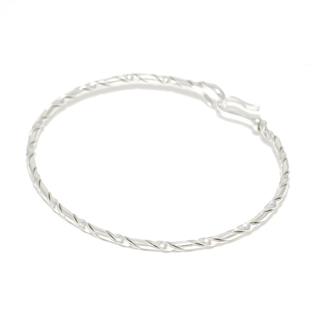 Twist Wire Bangle - Silver