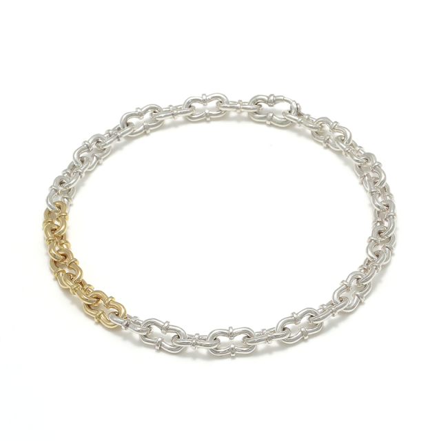 Double Horseshoe Link Bracelet - Silver×K18Yellow Gold