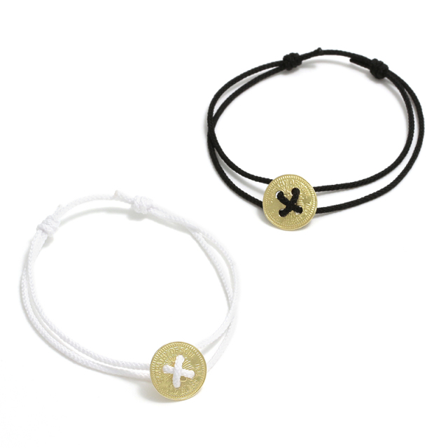 Classic Coin Button Cord Bracelet - K18Yellow Gold