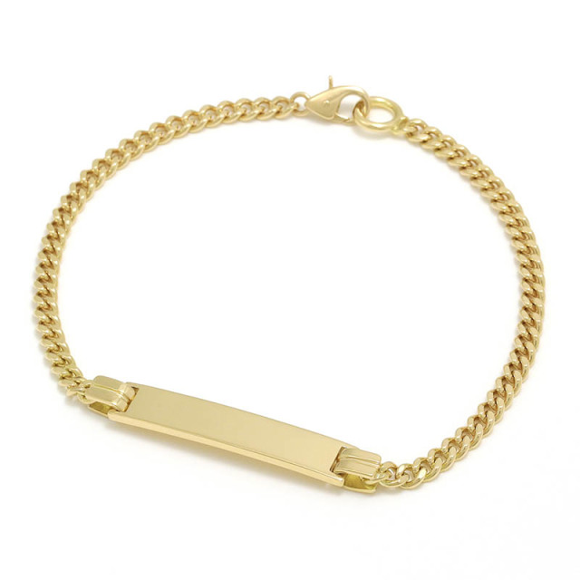 Narrow ID Chain Bracelet - K18Yellow Gold