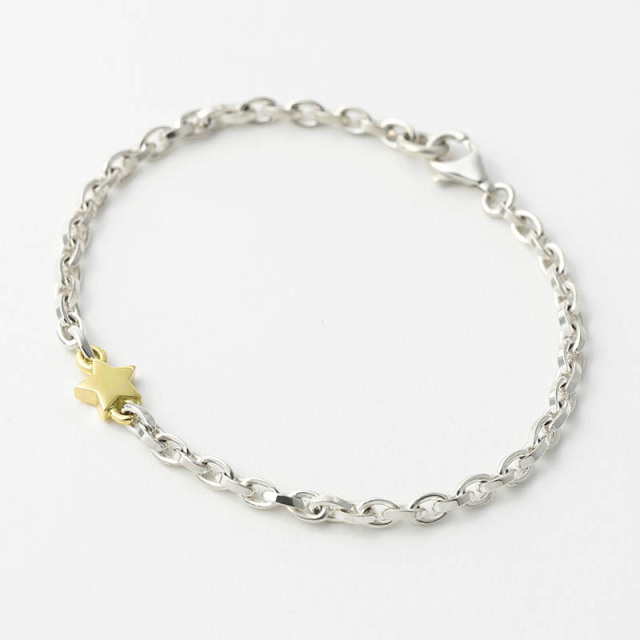 One Star Chain Bracelet - Silver×K18Yellow Gold