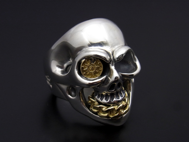 BILL WALL LEATHER×SYMPATHY OF SOUL  Medium Master Skull Ring - Silver×K18Yellow Gold