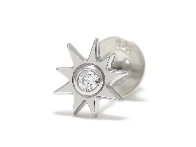 Sun Pierce - Silver w/CZ