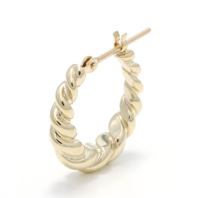 Gradation Twist Hoop Pierce - K10Yellow Gold