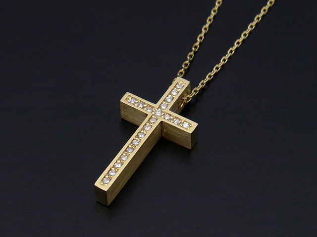 Two.Me Cross Necklace S - K18 Yellow Gold