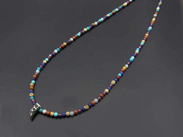 Multi Beads Necklace w/Horn