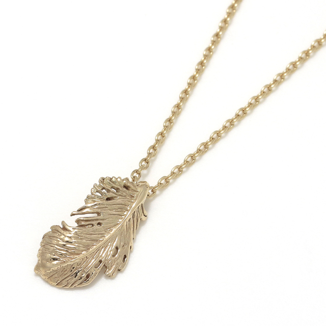 Feather Necklace - K10Yellow Gold