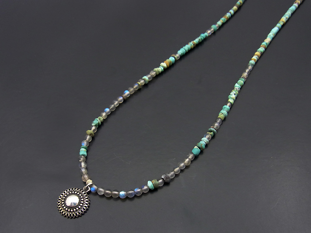 Turquoise Beads Necklace w/Marquise Flower