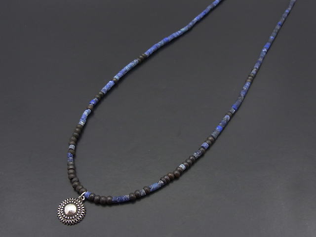 Lapis Lazuli Beads Necklace w/Marquise Flower