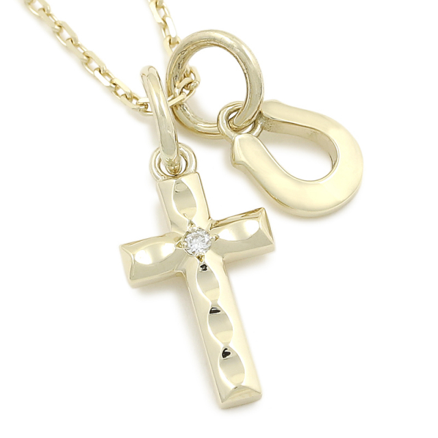 Cross & Horseshoe Necklace - K10Yellow Gold