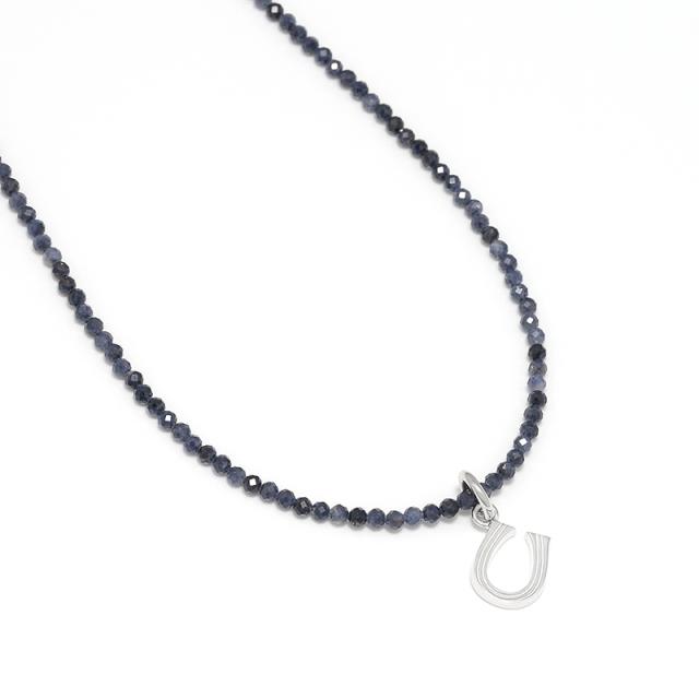 Sapphire Beads Necklace w/Horseshoe