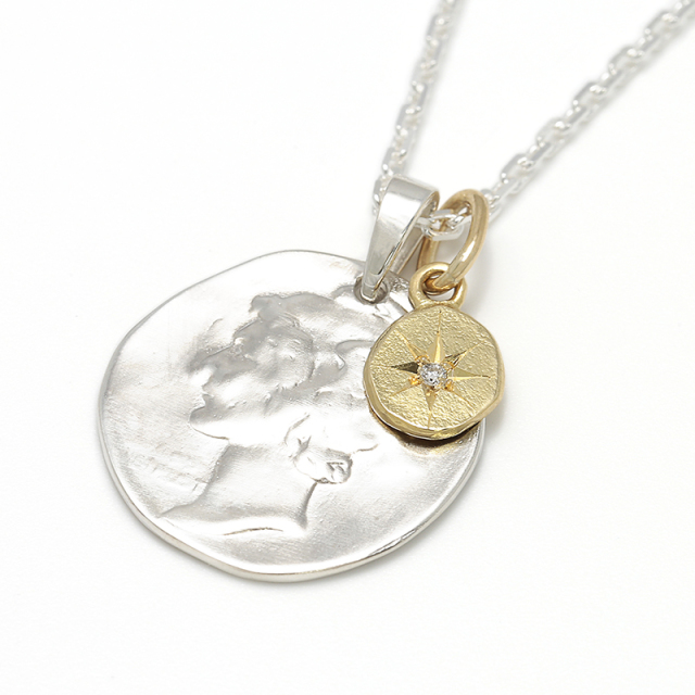 SYMPATHY OF SOUL Liberty Head Necklace - Silver w/K18Yellow Gold Glory Charm