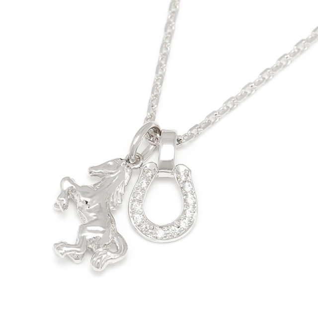 Small Horse & Horseshoe Necklace - Silver w/CZ