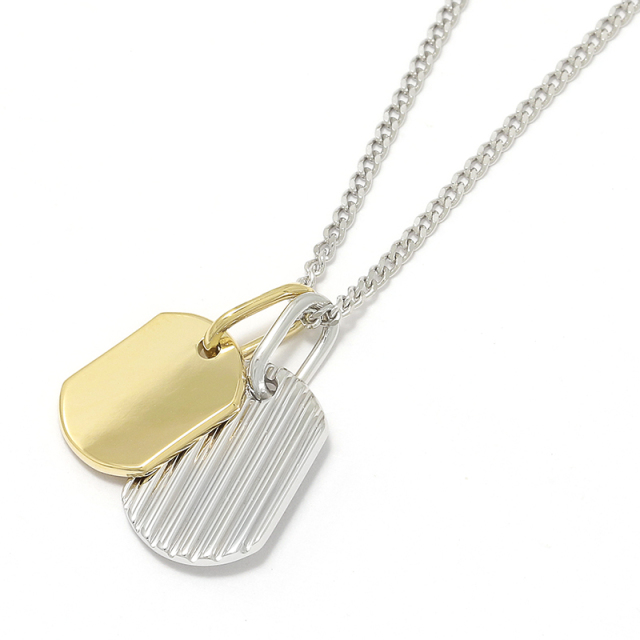 2018 Christmas Model Small Dog Tag Necklace - Silver × K18Yellow Gold