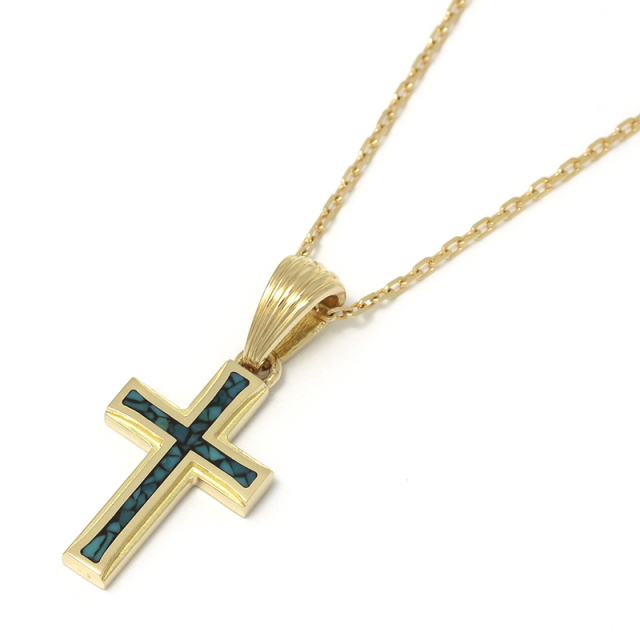 Small Gravity Cross Inlay Necklace - K18Yellow Gold