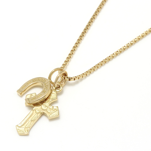 1940's Sixpence Cross Necklace w/GOOD LUCK Horseshoe - K18Yellow Gold