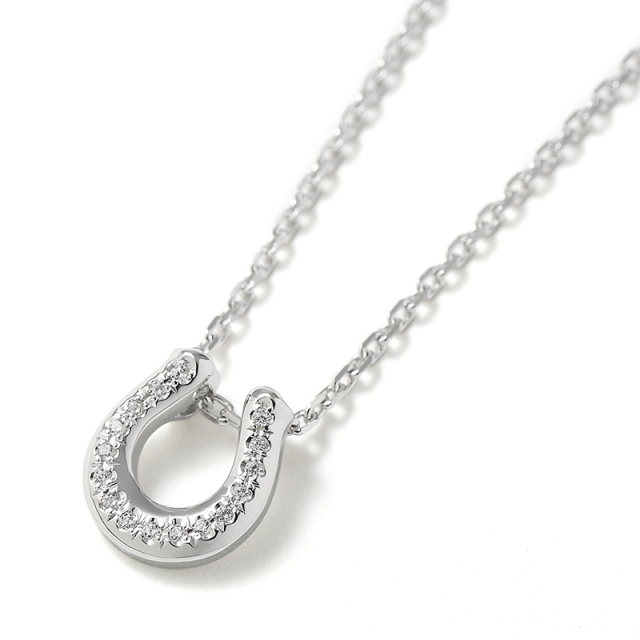 Ridge Horseshoe Necklace - Silver w/CZ
