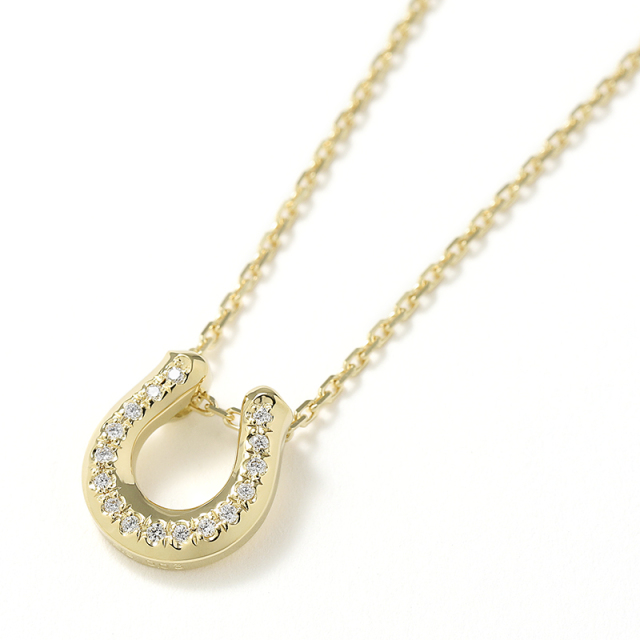 Ridge Horseshoe Necklace - K18Yellow Gold w/Diamond