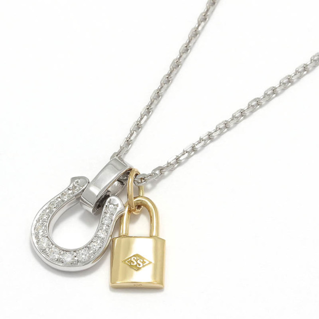 Horseshoe Amulet - Silver w/CZ + Small Key Charm - K18Yellow Gold Set Necklace