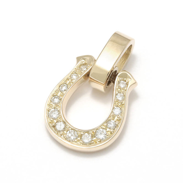 Horseshoe Amulet - K10Yellow Gold w/Diamond