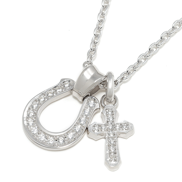 Horseshoe Large + Smooth Cross Set Necklace - Silver w/Clear CZ