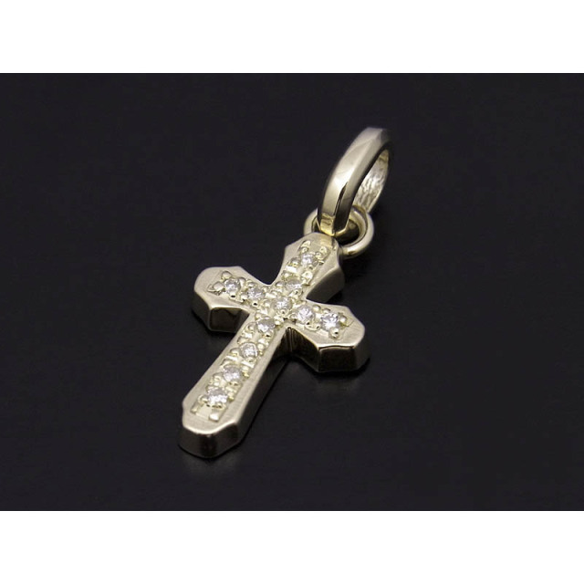Smooth Cross Pendant - K10Yellow Gold w/Diamond