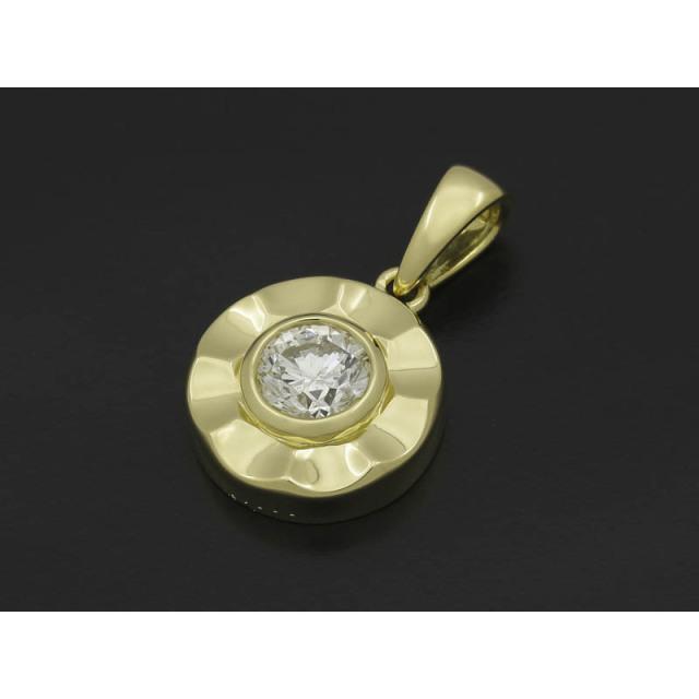 Round Frame Pendant - K18Yellow Gold w/1Diamond