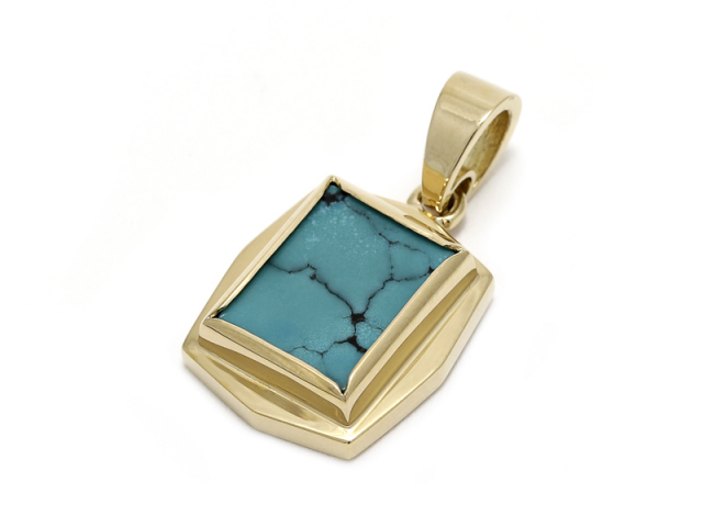 Square Turquoise Pendant - K18Yellow Gold