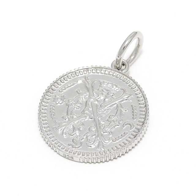 Medium Bless Coin Charm - Silver