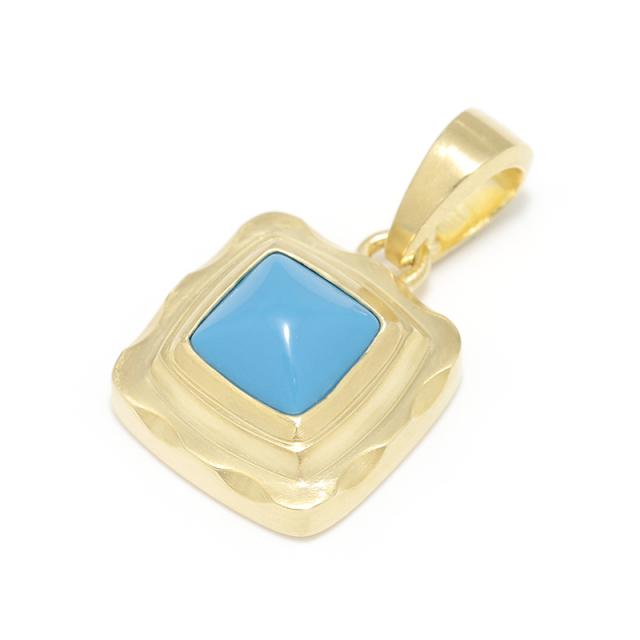 Pyramid Pendant - K18Yellow Gold w/Turquoise