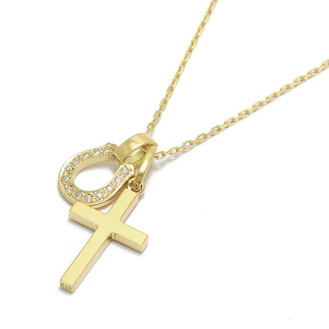 Simple Cross Small + Small Charm - Horseshoe - K18Yellow Gold w/Diamond Set Necklace