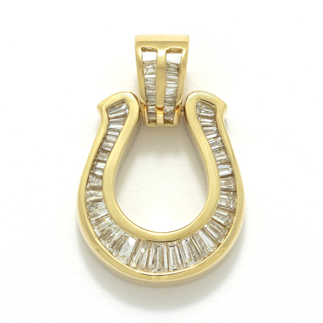 Horseshoe XL Pendant w/Tapered Diamond - K18Yellow Gold