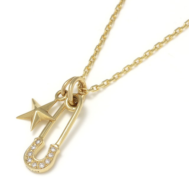 Safety Pin Charm + Small Star Charm - K18Yellow Gold w/Diamond Set Necklace