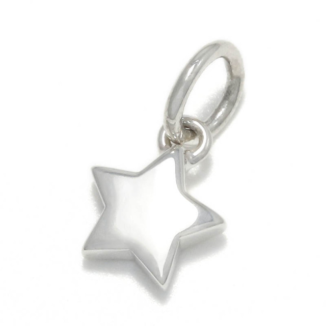 Small Round Star Charm - Silver