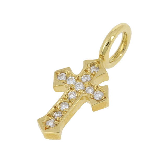 Little Cross Charm - K18Yellow Gold w/Diamond