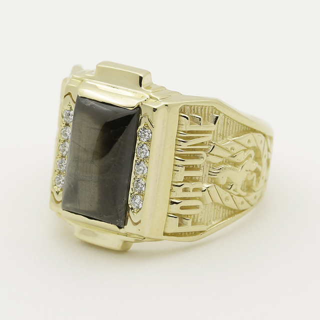 PHILIP COLLEGE RING×SYMPATHY OF SOUL Collaboration College Ring Large - K18Yellow Gold w/Black Sapphire&Diamond